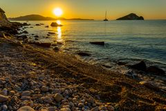 Magiczny wschód słońca na Zakythos zdjęcia stock