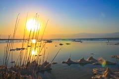Magiczny wschód słońca Nieżywy morze Zdjęcia Stock