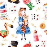 Magiczny wzór z uroczym wzrastał, karta do gry, kapelusz, stary zegar i złoci klucze, młoda dziewczyna ilustracja wektor