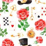 Magiczny wzór z uroczymi różami, karta do gry, kapeluszem, starym zegarem i złotymi kluczami, royalty ilustracja