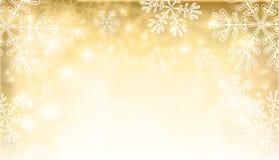 Magiczny złocisty Bożenarodzeniowy tło z płatkami śniegu Obraz Royalty Free