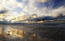 Magiczny zmierzch na dennym wybrzeżu, burz chmury podkreślać złotym światłem położenia słońce, piaskowata plaża odbija col zdjęcia stock