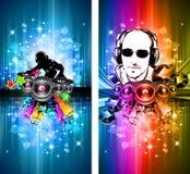Magie beleuchtet Disco-Flugblatt mit DJ-Form Stockbilder