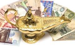 magie de lampe d'or Images libres de droits