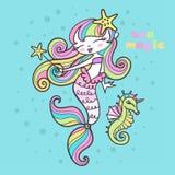 Magie de mer Peu sirène avec une baguette magique et un hippocampe magiques Vecteur illustration stock