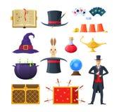 Magie, habillement, breuvages magiques, outils et accessoires de concept Spellbook, cartes, breuvages magiques illustration libre de droits