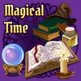 Magie stellte mit altem Buch, Kerze und anderen Elementen ein Stockfotografie