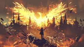 Magier, der das Phoenix-Geschöpf zusammenruft stockfotos