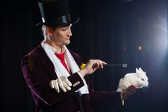 Magier mit Kaninchen, Jongleurmann, lustige Person, schwarze Magie, Illusion auf einem schwarzen Hintergrund lizenzfreies stockfoto
