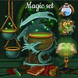 Magiesatz Werkzeuge für Hexerei und Banne Lizenzfreie Stockfotografie