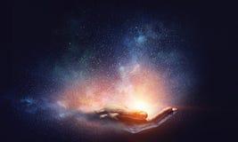 Magii światło w palmie Obrazy Stock