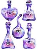 Magii butelki z wszystkie widzii oczami fotografia royalty free
