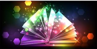 Magii książka z światłem Zdjęcia Stock