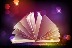 Magii książka z światłem Fotografia Stock