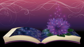 Magii książka z lotosowym kwiatem royalty ilustracja