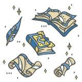 Magii książki, papier, ślimacznica i piórkowy pióro magiczni, - ilustracji