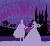 Magii princess z książe i kasztel Fotografia Stock