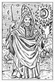 Magik, czarownik lub warlock, Grawerująca fantazi ilustracja ilustracji