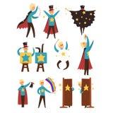 Magik wykonuje magicznego przedstawienie set wektorowe ilustracje odizolowywać na białym tle royalty ilustracja
