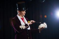 Magik z królikiem, Juggler mężczyzna, Śmieszna osoba, Czarna magia, złudzenie na czarnym tle Obrazy Royalty Free