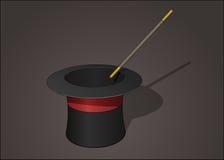 Magika kapelusz z magiczną różdżką Obrazy Royalty Free