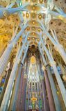 Maginificent interior of the Basilica de la Sagrada Familia, Bar Stock Photos