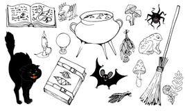 Magiobjekt, uppsättning av beståndsdelar på en vit bakgrund arkivbilder