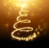 Or magique d'arbre de Noël Photo libre de droits