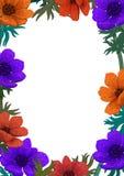 Magisch bloemenmalplaatje Mooi wild tuinontwerp De digitale illustratie van het kleurenpotlood Verticaal Ontwerp met mooi stock afbeelding