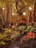 Magisch bos met lampen stock illustratie