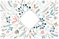 Magisch bosmalplaatje voor tekst Bloemenmalplaatje met lege centr Stock Afbeeldingen