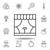 Magisch de stadiumbouw overzichtspictogram elementen van het magische pictogram van de illustratielijn de tekens, symbolen kunnen vector illustratie