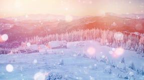 Magisch de winterlandschap, achtergrond met sommige zachte hoogtepunten a Royalty-vrije Stock Foto