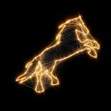 Magisch glanzend gouden paard Verbonden punten Stock Afbeelding