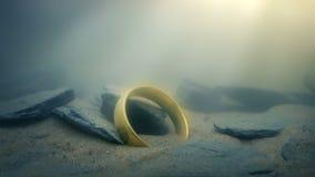 Magisch Gouden Ring Glowing Underwater stock video