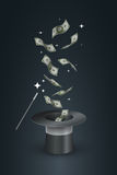 Magisch Hoed en Geld Stock Fotografie