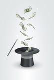 Magisch Hoed en Geld Royalty-vrije Stock Afbeeldingen