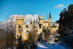 Magisch kasteel in de wintersprookjesland Stock Fotografie