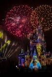 Magisch Koninkrijk Cinderella Castle Fireworks Orlando royalty-vrije stock foto