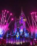 Magisch Koninkrijkscinderella castle blue, Roze en Purper Vuurwerk Orlando stock afbeeldingen