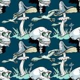 Magisch paddestoel, schedel en zeemeeuw naadloos patroon royalty-vrije illustratie
