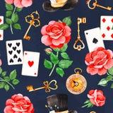 Magisch patroon met mooie rozen, speelkaarten, hoed, oude klok en gouden sleutels stock illustratie