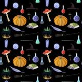 Magisch patroon met pompoen, boeken vector illustratie