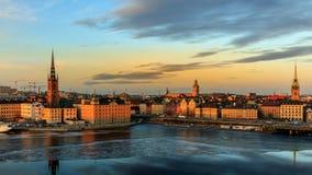 Magisch uur in Stockholm stock foto's