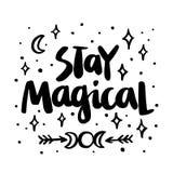 Magisch verblijf! De citaat hand-tekening van zwarte inkt Vector beeld Stock Afbeeldingen