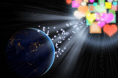 Magische abstracte blauwe aarde ruimtemening Stock Fotografie