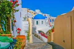 Magische Ansicht von Oia in Santorini Stockfotos