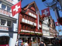 Magische architectuur in Appenzell, Zwitserland stock foto's