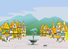 Magische beeldverhaal middeleeuwse stad Royalty-vrije Stock Afbeelding