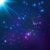 Magische blauwe vector kosmische lichte achtergrond stock illustratie